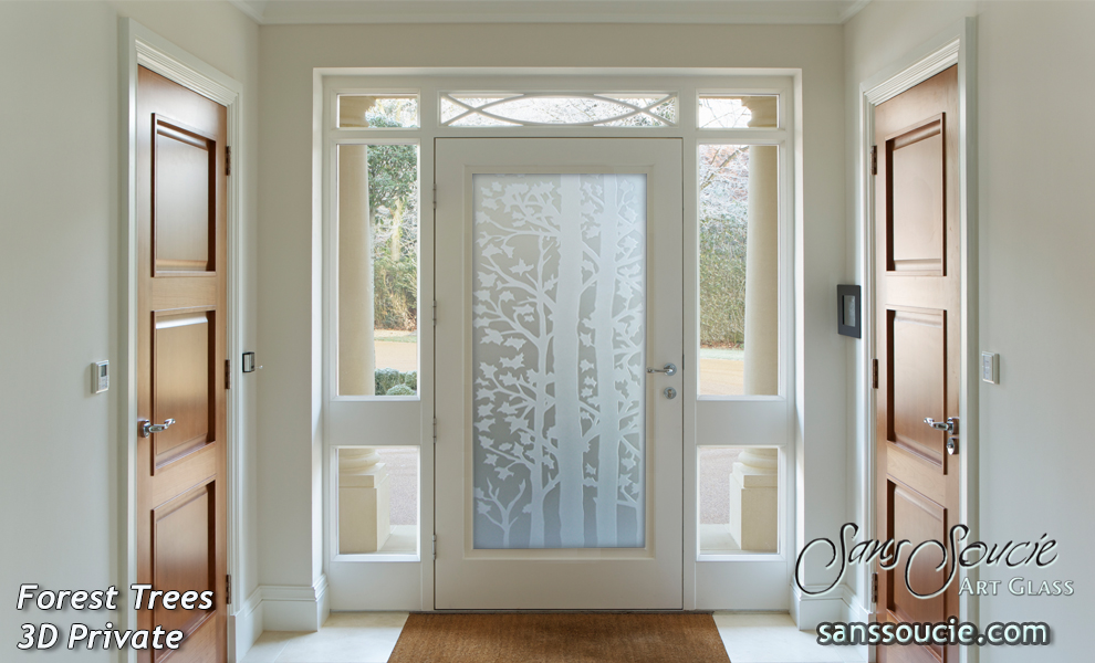 glass entry doors etched glass trees rustic style forest trees 3d