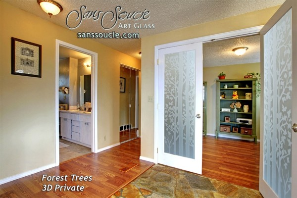 interior glass doors rustic decor forest trees