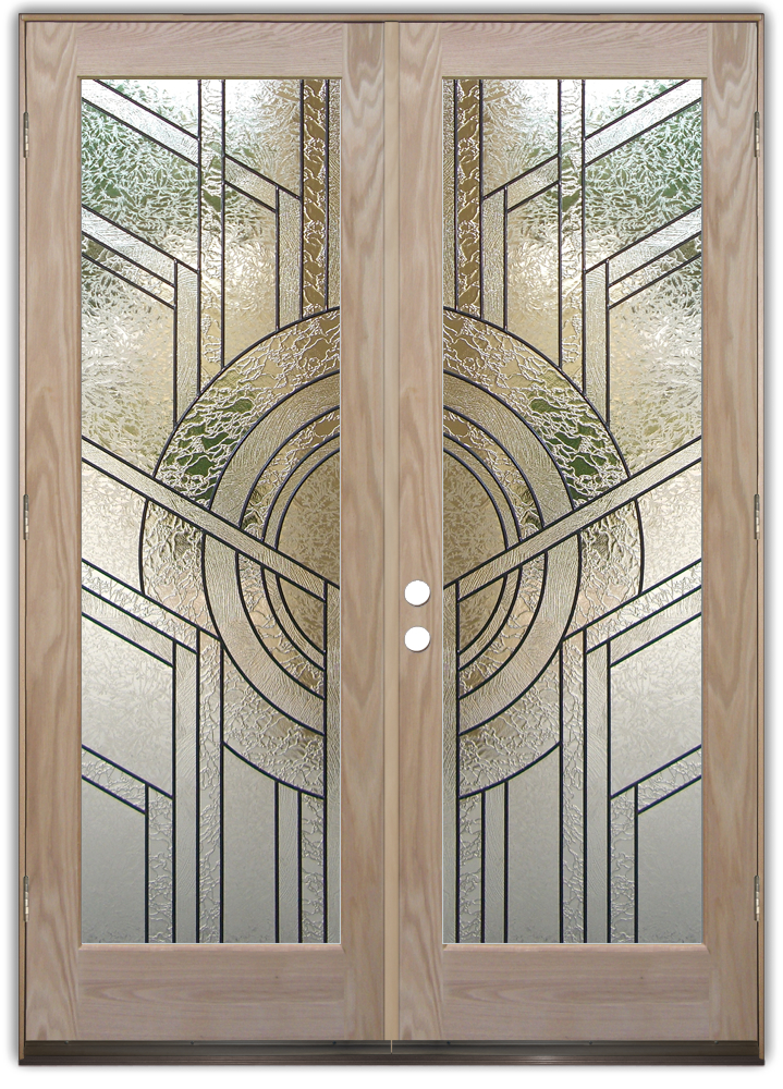 Double entry doors sans soucie art glass for Etched glass entry doors