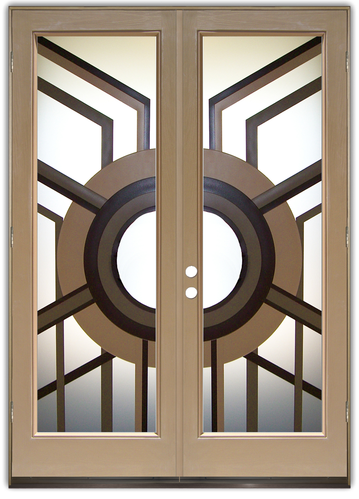Pantry Doors With Frosted Glass Wrought Iron Motifs Sans Soucie
