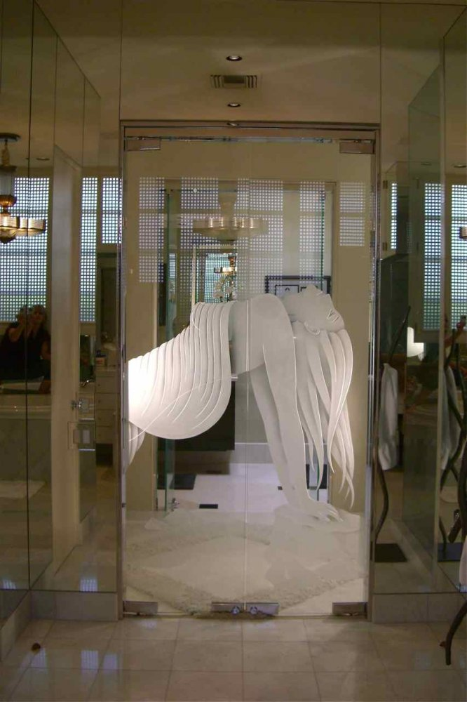 glass doors all glass frameless etched glass doors woman lady
