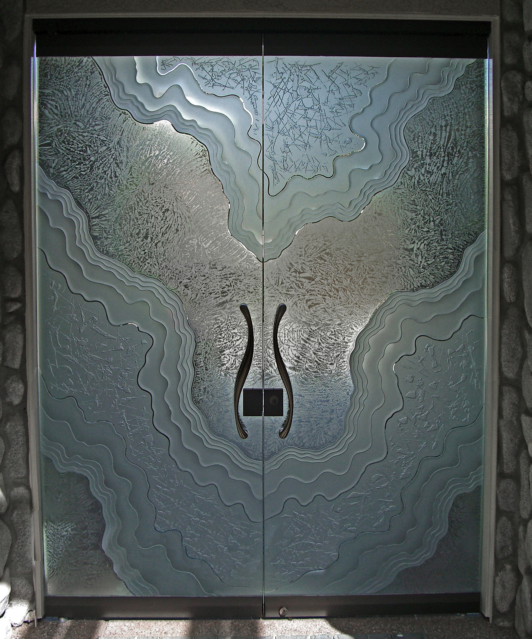 glass doors all glass frameless etched glass doors  rustic decor