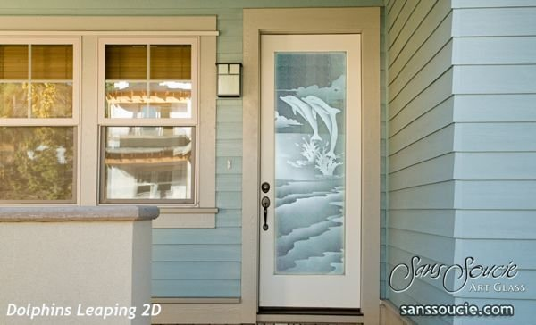 Dolphins Leaping 2D Fiberglass  Entry Door  $1,878