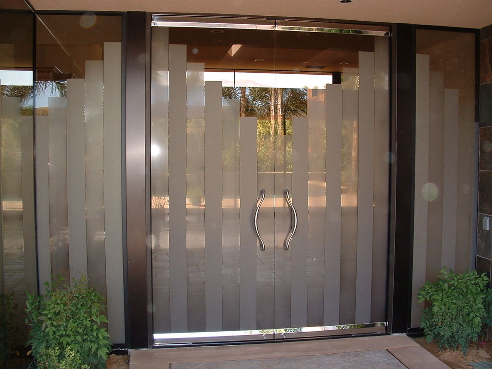 Double entry doors sans soucie art glass for Entrance door with window