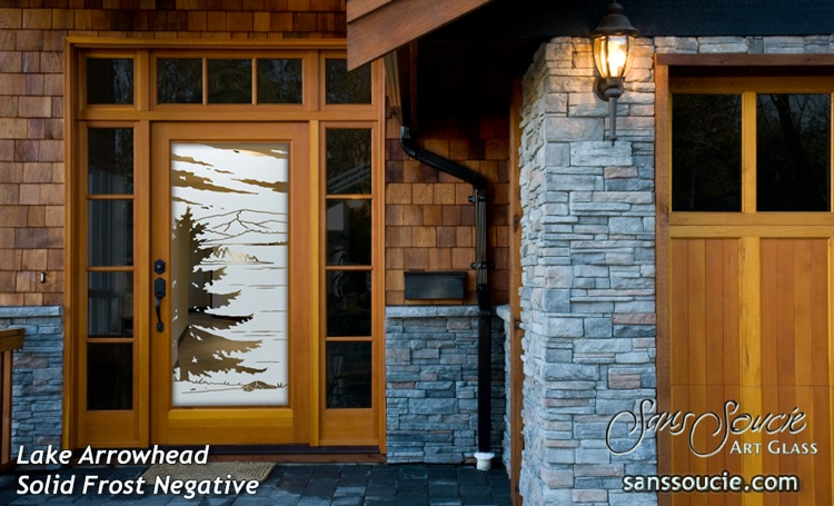 Front Glass Doors Etched Glass Rustic Decor Forrest Trees Mountains