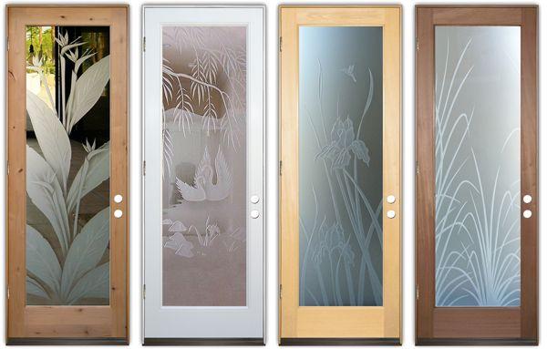 Glass Doors Tropical Decor Style Etched Glass Sans Soucie