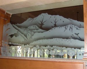 Partitions Enclosed with Carved Glass Western Landscape by Sans Soucie