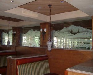Sans Soucie Partitions Enclosed with Carved Glass Rustic Landscape