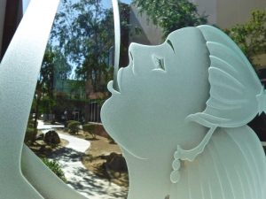 Glass Door and Windows Craved Beach Coastal mermaid by Sans Soucie