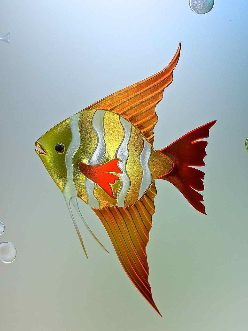 Aquarium 3d private painted glass insert sans soucie for Painted glass fish