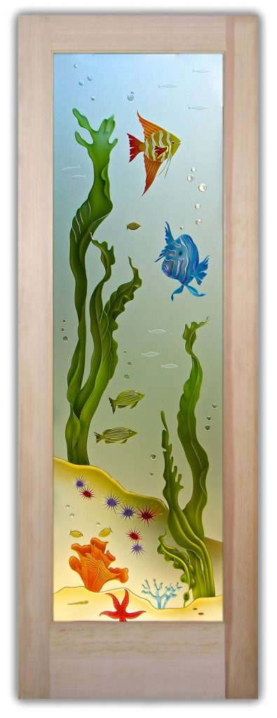 Aquarium Fish 3D Enhanced Private Painted Etched Glass Door