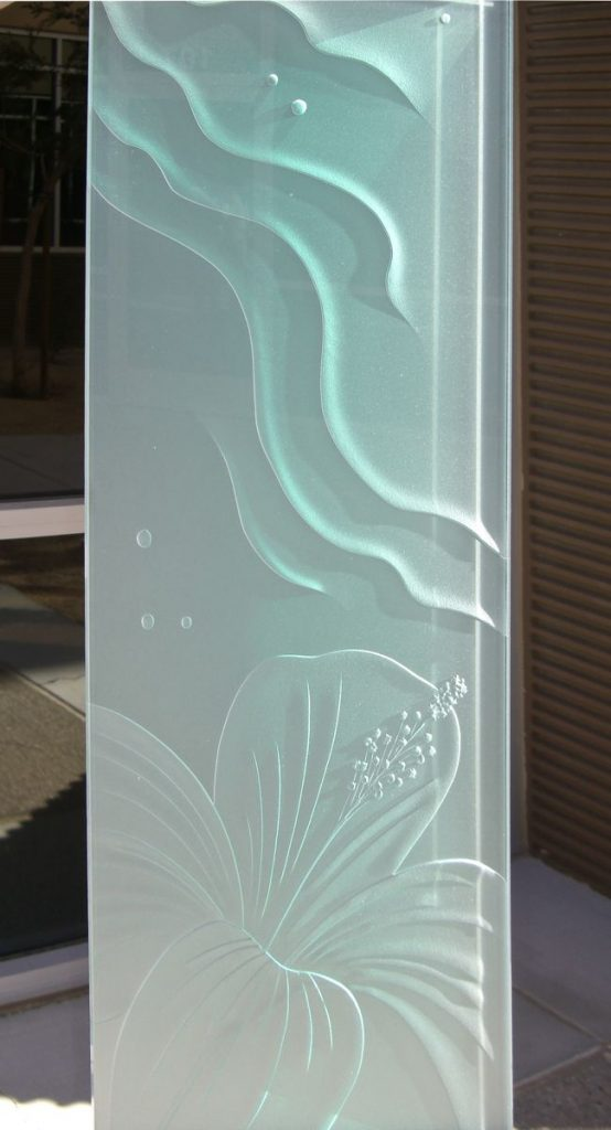 Sans Soucie Window Panels with Carved and Etched Glass Tropical hibiscus