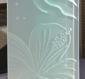 Window Panels with Etched and Carved Glass Tropical hibiscus by Sans Soucie