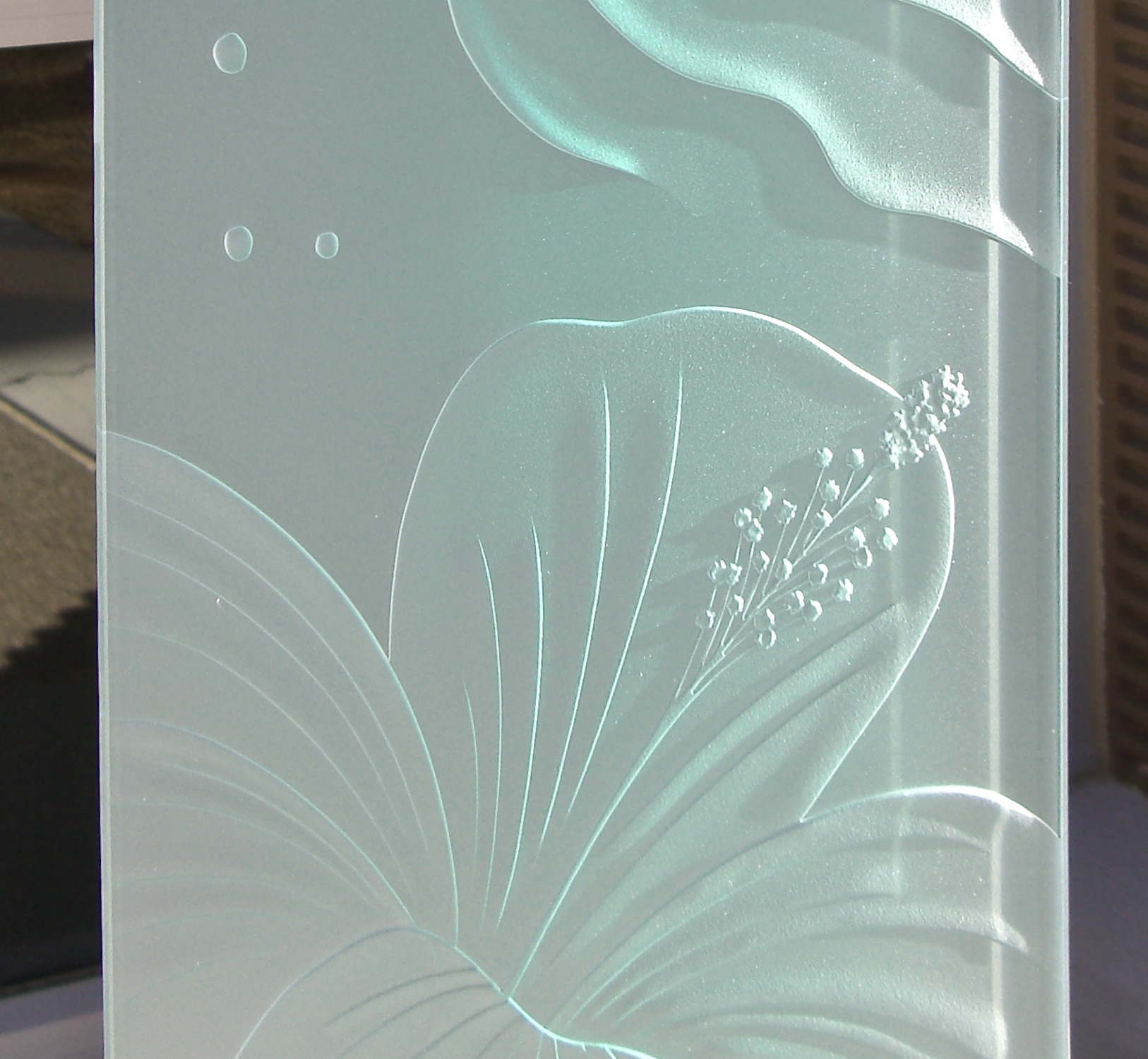 Hibiscus Waves 3d Etched Glass Window Panels