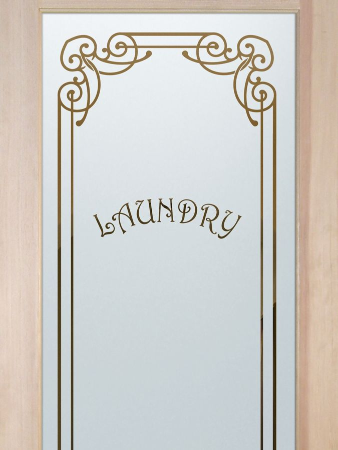 Laundry Room Door with Glass Etching by Sans Soucie