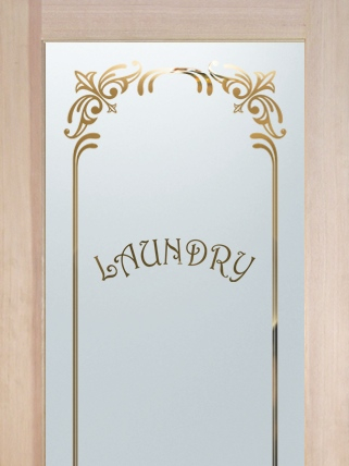 Laundry Room Door Frosted borders by Sans Soucie