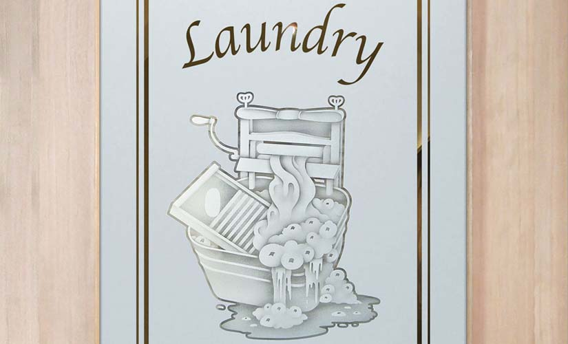 Spruce Up Your Laundry Room With An Etched Glass Door By Sans Soucie