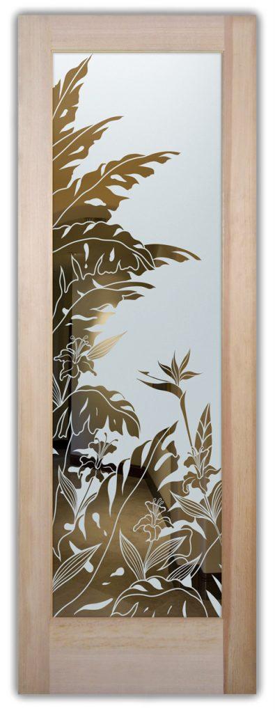 Tropical Peak 1D NegativeEtched Glass Door