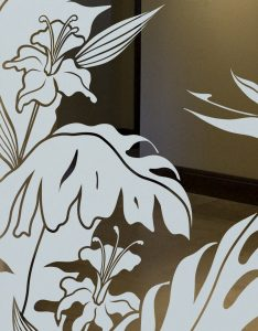 Interior Door Glass Frosting Tropical Foliage Sans Soucie
