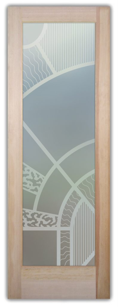 Matrix Arcs 1D Private Etched Glass Door