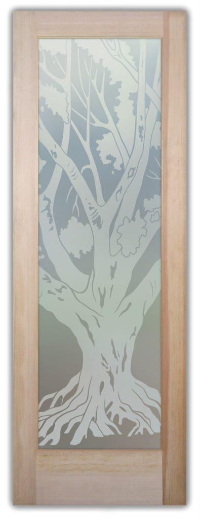 Oak Tree1D PrivateEtched Glass Door