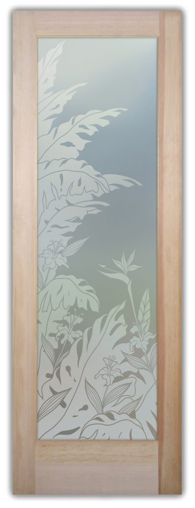 Tropical Peak 1D Private Etched Glass Door
