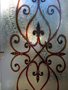 Frameless Shower Door with Carved Painted and Gluechipped Glass Tuscan by Sans Soucie
