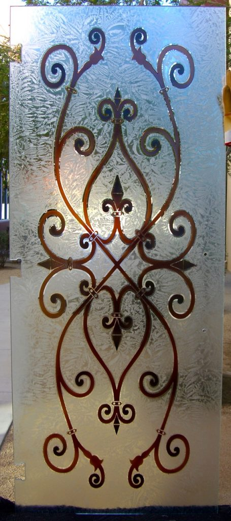 Frameless Shower Door with Carved Painted and Gluechipped Glass Victorian by Sans Soucie