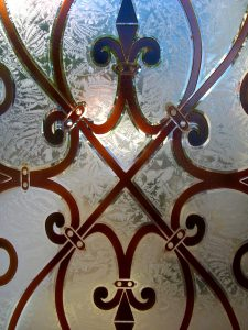 Frameless Shower Door with Carved Painted and Gluechipped Glass Mediterranean by Sans Soucie