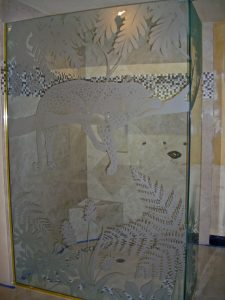 Shower Enclosure Glass Caving Foliage Cheetah Sans Soucie