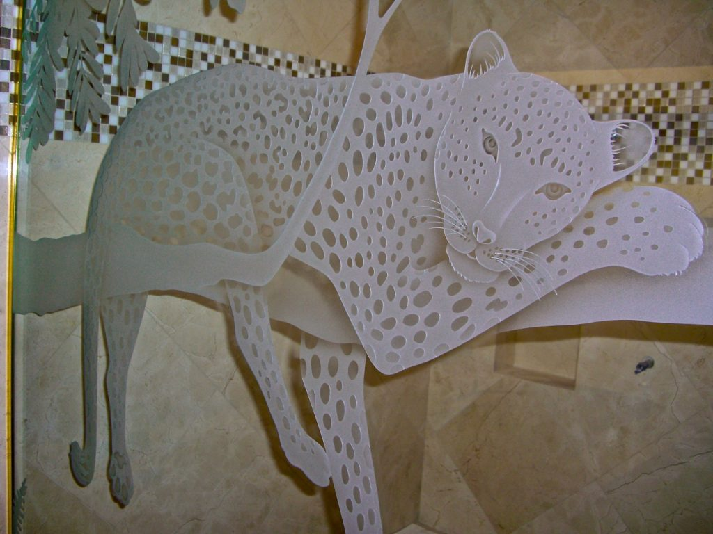 Shower Enclosure Carved Glass Wildlife Cheetah Sans Soucie
