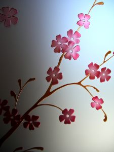 Cherry Blossom 3D Paint Frameless Door