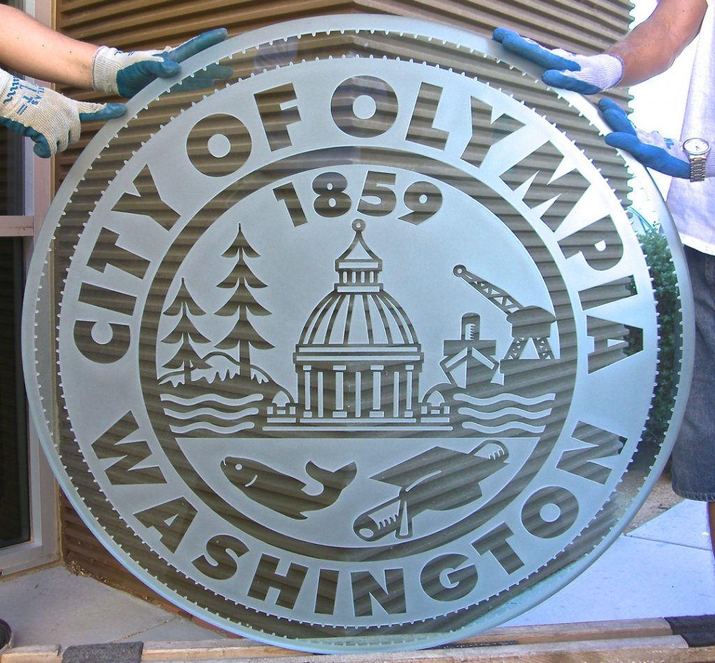 Glass Signs City of Olympia Seal 3D Sign