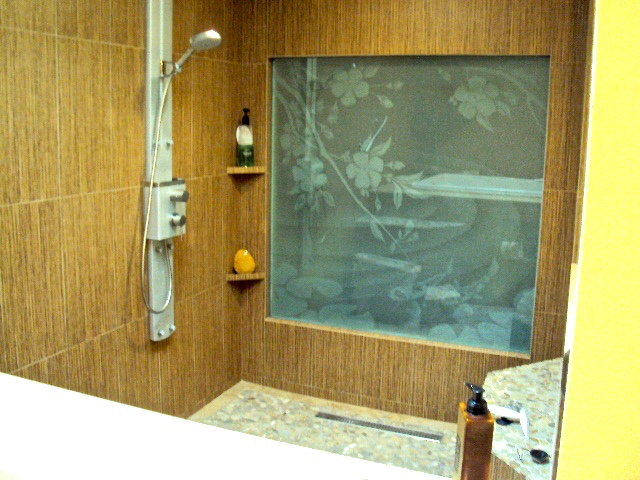 etched glass asian style koi fish pond
