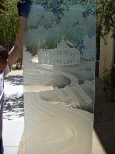 Front Door Glass Insert Craved Landscape winery Sans Soucie