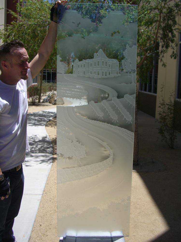 Glass Door Insert Craved Landscape winery Sans Soucie