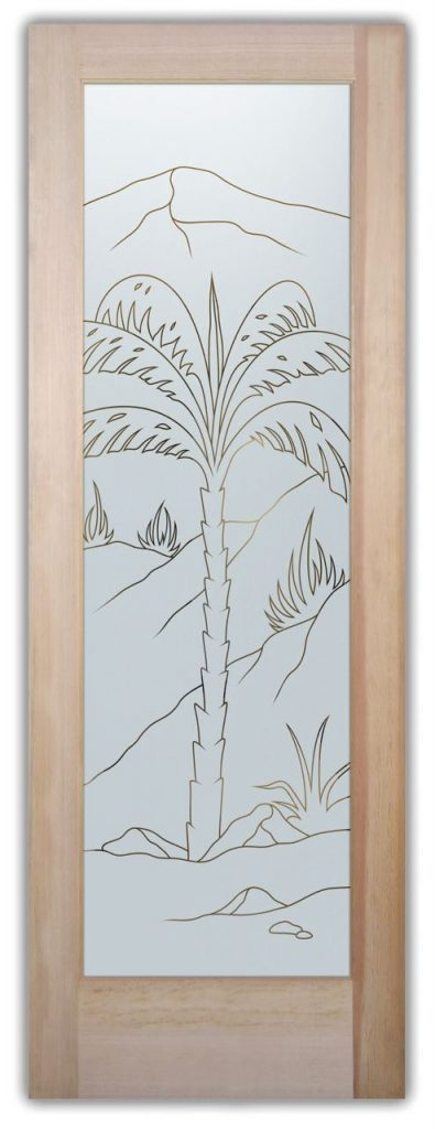 Interior Door Frosted Glass Desert palm tree Sans Soucie