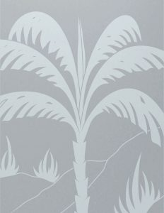 Front Door Frosted Glass Tropical Sans Soucie