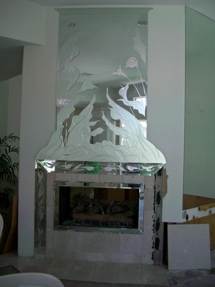 Calla lilies overlay l decorative mirrors l custom mirrors for Custom mirror glass