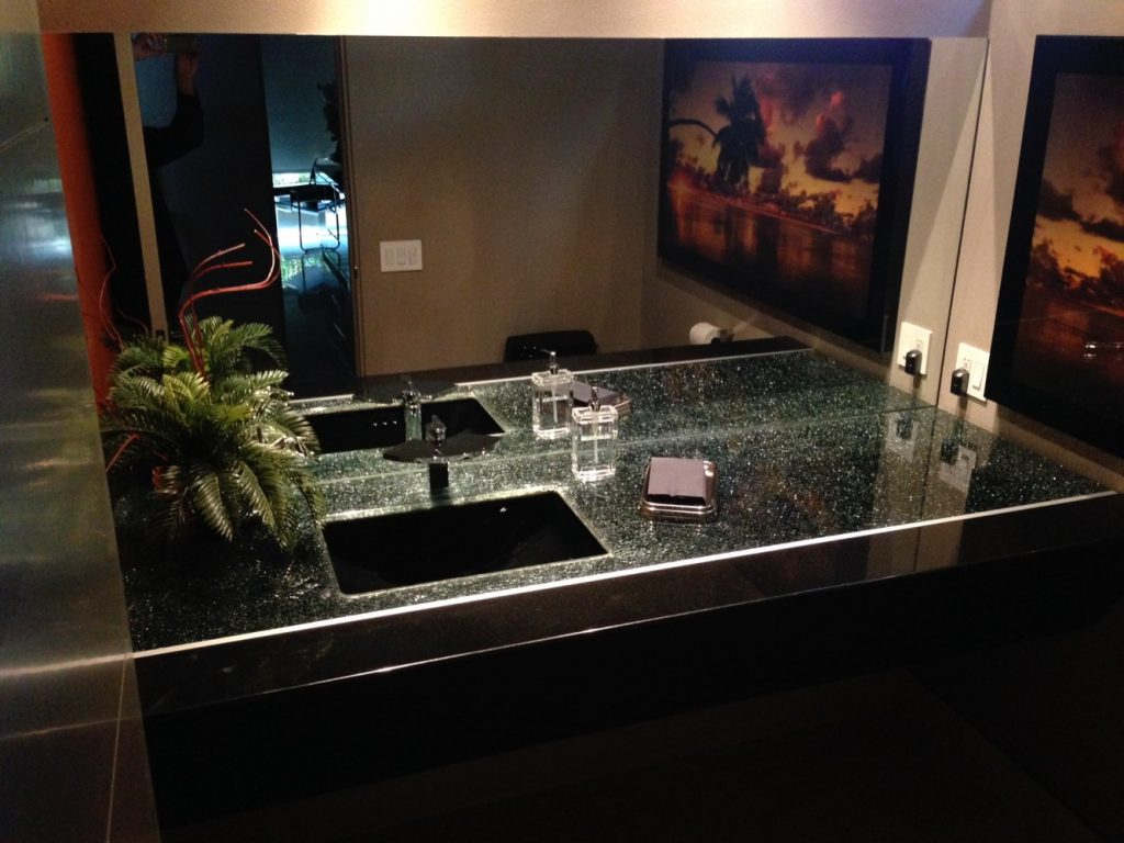 counter top table grey mirror shattered