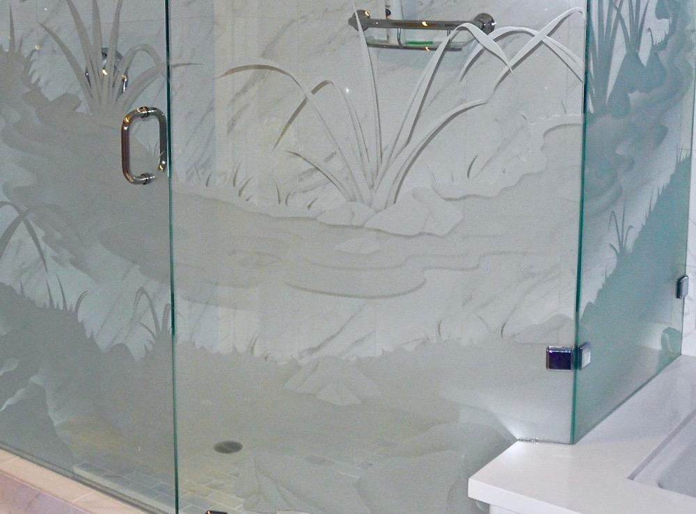Glass Shower Enclosures Etched Glass Landscape Sans Soucie