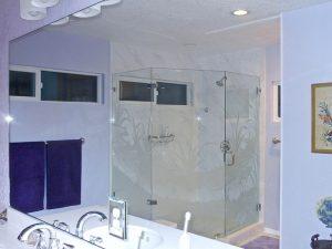 Glass Shower Enclosures Etched Glass Tropical Sans Soucie