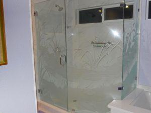 Glass Shower Enclosures Etched Glass Rustic Sans Soucie