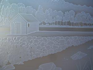 Door Glass Inserts Etched Glass Landscape custom Sans Soucie