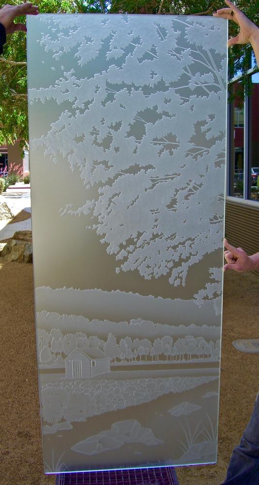 Door Glass Inserts Glass Etching Landscape custom Sans Soucie