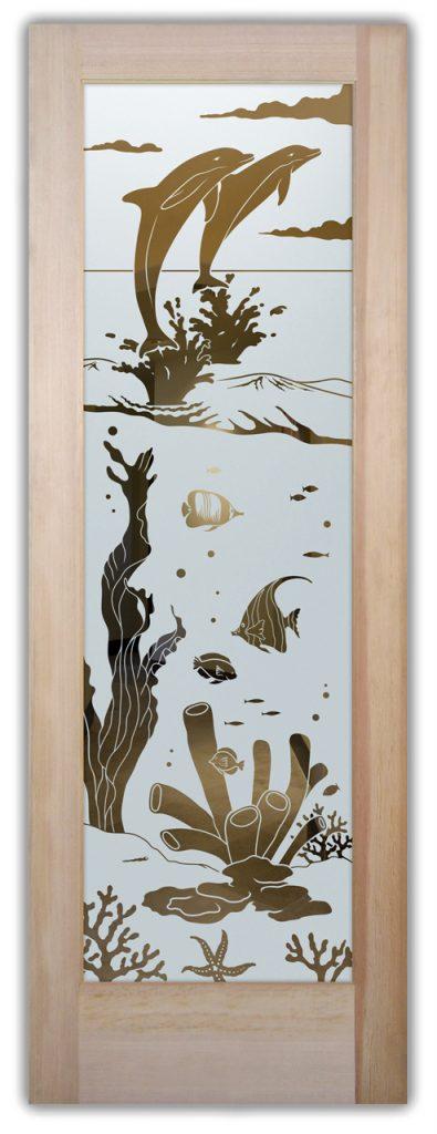 Etched Glass Doors Wildlife dolphins Sans Soucie