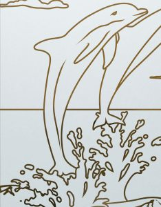 Etched Glass Doors Oceanic dolphins Sans Soucie