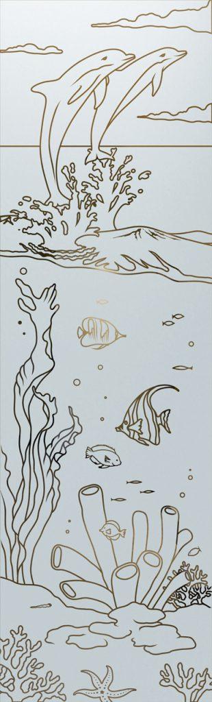 Door Glass Inserts Etched Glass Wildlife fish Sans Soucie