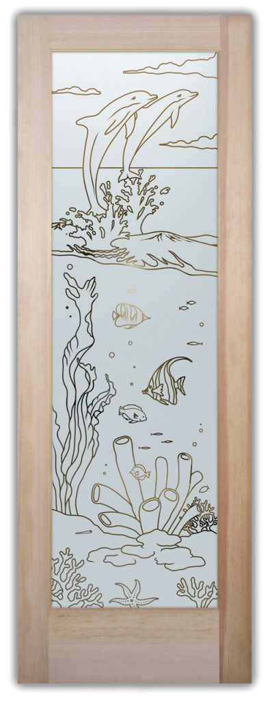 Etched Glass Doors Tropical dolphins Sans Soucie