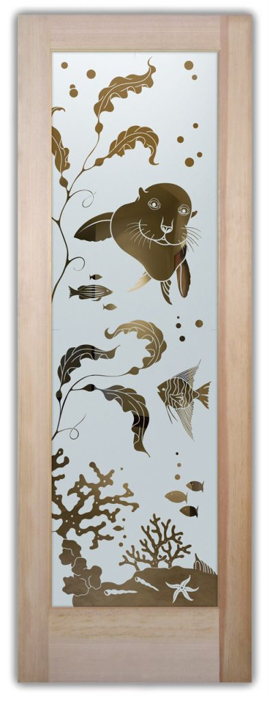 Front Etched Glass Doors Wildlife sea lion Sans Soucie